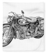 Ww2 Military Motorcycle Fleece Blanket