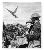 Wwi Releasing British Carrier Pigeon Fleece Blanket