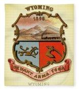 Wyoming Coat Of Arms - 1876 Fleece Blanket