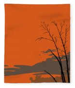 Abstract Tropical Birds Sunset Large Pop Art Nouveau Landscape 3 - Left Side Fleece Blanket