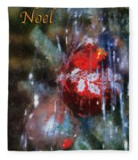 Xmas Ornament Noel Photo Art 01 Fleece Blanket