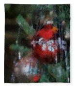 Xmas Red Ornament Photo Art 03 Fleece Blanket