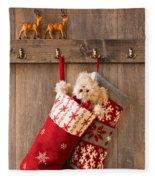 Xmas Stockings Fleece Blanket