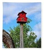 Yachats Red Birdhouse Fleece Blanket