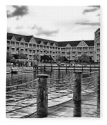 Yacht And Beach Club After The Rain In Black And White Walt Disney World Fleece Blanket