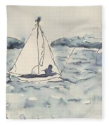 Yacht At Arcachon Fleece Blanket