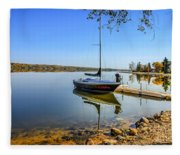 Yacht At The Little Manitou Lake Fleece Blanket