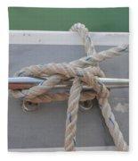 Yacht Secured To A Jetty  Fleece Blanket