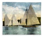 Yachting In Saugatuck Fleece Blanket