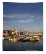 Yachts In A Marina At Sunset Fleece Blanket