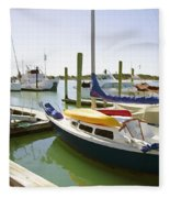 Yachts In A Port 1 Fleece Blanket