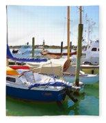 Yachts In A Port 4 Fleece Blanket