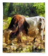 Yak Having A Snack Fleece Blanket