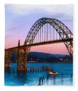 Yaquina Bay Bridge Fleece Blanket