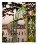 Yaquina Bay Bridge Morning Light Fleece Blanket