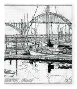 Yaquina Bay Newport Oregon Fleece Blanket