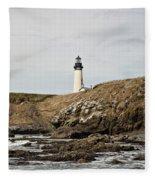 Yaquina Head Lighthouse From The Beach Fleece Blanket