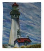 Yaquina Head Lighthouse Original Painting Fleece Blanket