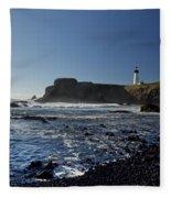 Yaquina Lighthouse And Beach No 1 Fleece Blanket