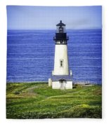 Yaquina Lighthouse From The Big Hill Fleece Blanket