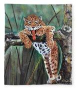 Yawning Leopard Fleece Blanket