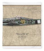 Yellow 10 Focke-wulf Fw190d - Map Background Fleece Blanket