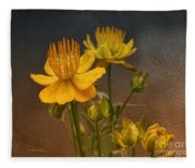 Yellow Aged Floral Fleece Blanket