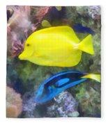 Yellow And Blue Tang Fish Fleece Blanket