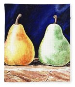 Yellow And Green Pear Fleece Blanket