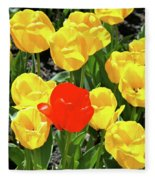 Yellow And One Red Tulip Fleece Blanket