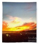 Yellow And Orange Sunset Fleece Blanket