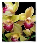 Yellow And Pink Orchids Fleece Blanket