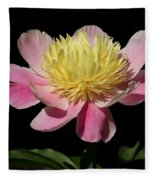 Yellow And Pink Peony Fleece Blanket