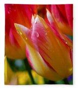 Yellow And Pink Tulips Fleece Blanket