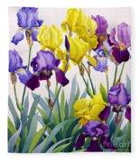 Yellow And Purple Irises Fleece Blanket