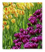 Yellow And Purple Tulips Fleece Blanket