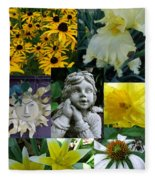 Yellow And White Flower Collage Fleece Blanket