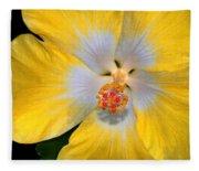 Yellow And White Hibiscus Fleece Blanket