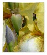 Yellow And White Iris Fleece Blanket