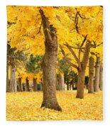 Yellow Autumn Wonderland Fleece Blanket