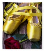 Yellow Ballet Shoes Fleece Blanket