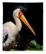 Yellow Billed Stork Peers At Camera Fleece Blanket