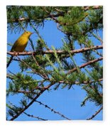 Yellow Bird In A Juniper Tree Fleece Blanket