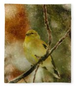 Yellow Bird Fleece Blanket