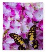 Yellow Black Butterfly On Hydrangea Fleece Blanket