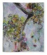 Yellow Blossoms Painting Flowr Butterflies Art Abstract Modern Spring Color Flower Art Fleece Blanket