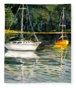 Yellow Boat Sister Bay Fleece Blanket