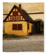 Yellow Building And Wall In Rothenburg Germany Fleece Blanket
