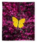 Yellow Butterfly On Red Flowering Bush Fleece Blanket