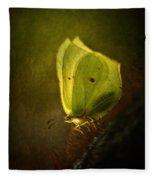 Yellow Butterfly Sitting On The Moss  Fleece Blanket